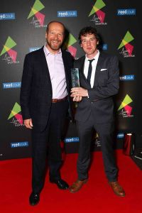 (L-R) James Reed and Rhys Edwards (with his award for 'A Good Bitch' Grand Prix Winner)  Photo by David M. Benett